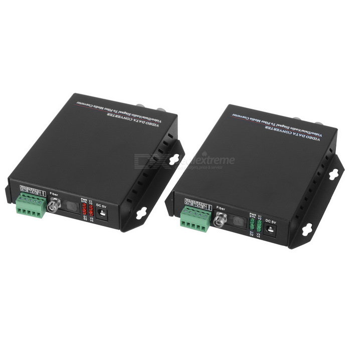 1-CH Video &amp; 1-CH Data Digital Optical Fiber Media Converter Transmitter and Receiver SetAV Adapters And Converters<br>Form  ColorBlackPacking List<br>