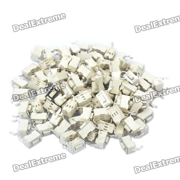 Nylon PP6 DC 12V 50mA Tact Switch - White (100-Piece Pack / 6 x 3 x 4.3mm)