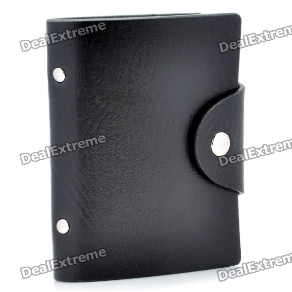 Buy PU Leather Business Credit Card Holder Case Bag - Black (18-Pocket) with Litecoins with Free Shipping on Gipsybee.com