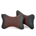 Stylish-Vehicle-Car-Seat-Head-Neck-Rest-Cushion-Pillow-Red-2b-Black-(Pair)