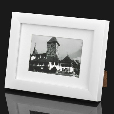 """Stylish Wooden Dual Layer Photo Frame for 7"""" / 5"""" Photo - White"""