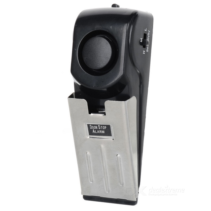 Home Security Wedge Door Stop Alarm System - Black + Silver (1 x 9V)