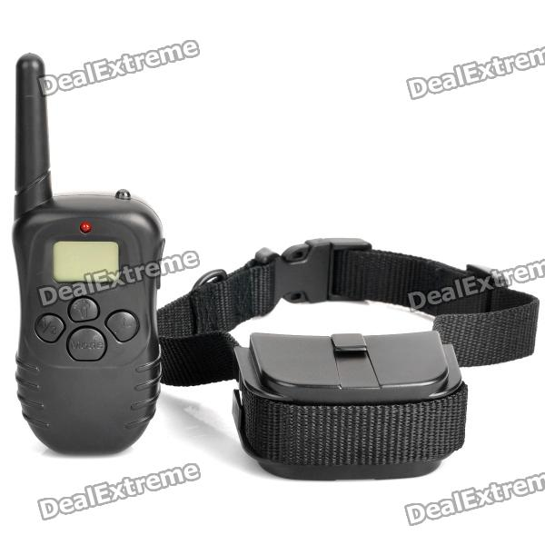 "Dx coupon: 0.9"" LCD Remote Pet Training Collar - Black ( Li-ion / 2 x AAA)"