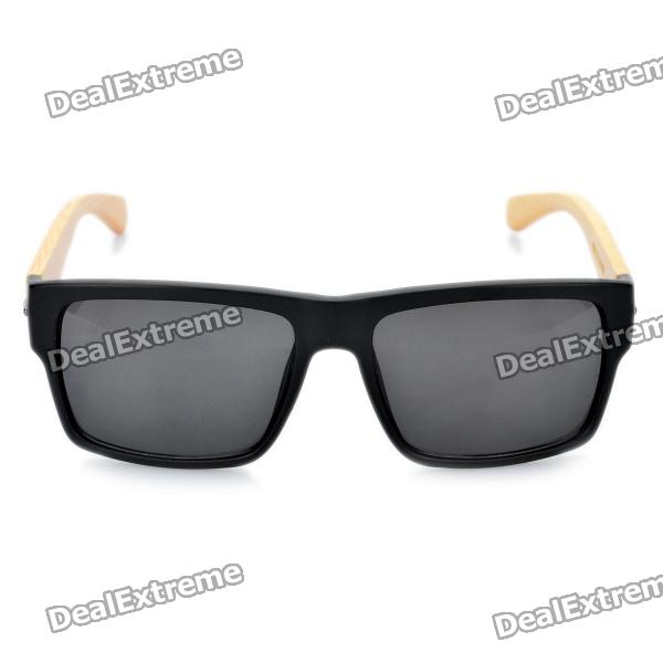 2d5b65fc6f ... Stylish Bamboo Temple UV 400 Protection Sunglasses - Black + Wood ...
