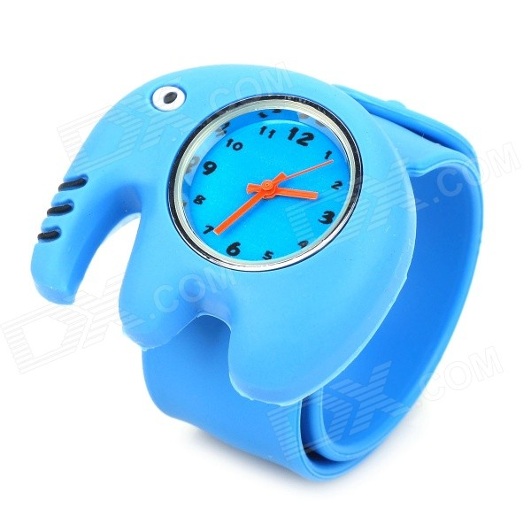 Cute Elephant Style Silicone Quartz Movement Slap Band Wrist Watch for Kids - Blue (1 x SR626)