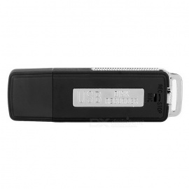 USB 2.0 Rechargeable Flash Drive Voice Recorder - Black (4GB)