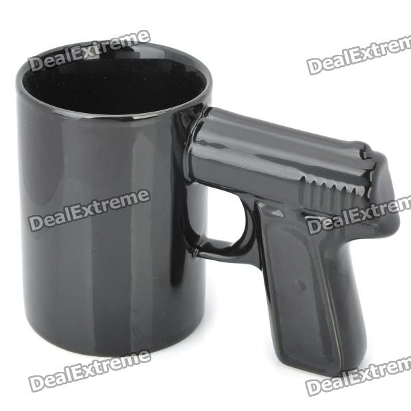 Buy Cool Gun Style Ceramic Whiteware Mug Cup - Black (350ml) with Litecoins with Free Shipping on Gipsybee.com