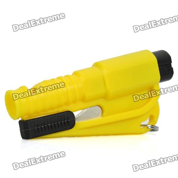 Buy 3-in-1 Whistle + Seat Belt Cutter + Window Break Keychain - Yellow with Litecoins with Free Shipping on Gipsybee.com