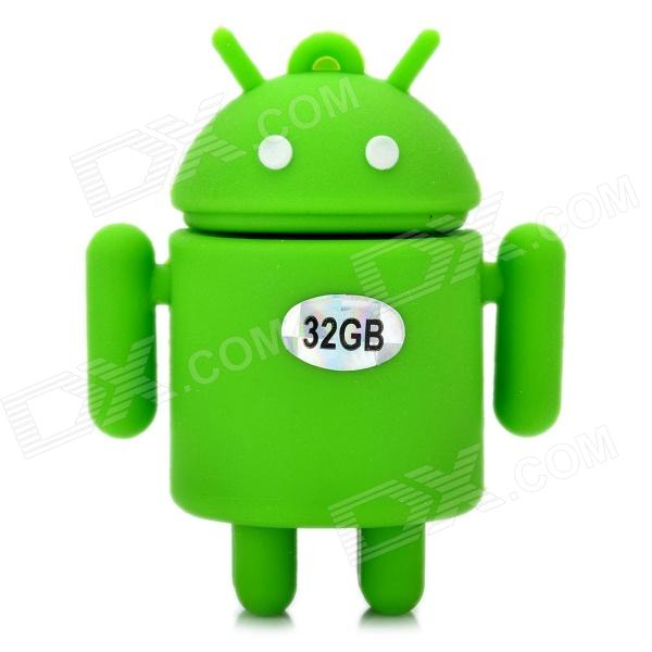 Android Robot estilo USB 2.0 Flash Drive - Green (32GB)