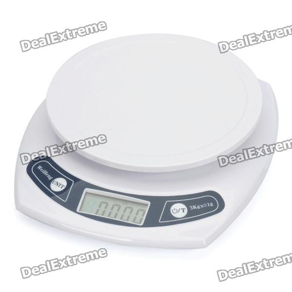 "1.8"" LCD Digital Electronic Kitchen Scale - White (3Kg / 0.1g / 2 x AAA)"