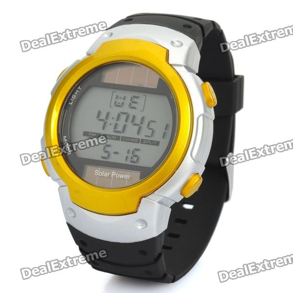 Sports Solar Powered Digital Wrist Watch w/ Alarm / Stop Watch - Black + Yellow (1 x CR2025)Sport Watches<br>Model1002Quantity1Quantity1Form  ColorBlackSuitable forAdultsGenderMenStyleWrist WatchTypeSports watchesDisplayDigitalBacklightBlueMovementDigitalDisplay Format12Water ResistantFor daily wear. Suitable for everyday use. Wearable while water is being splashed but not under any pressure.Dial Diameter5cmDial Thickness1.5Band Width2.2Battery1Packing List<br>