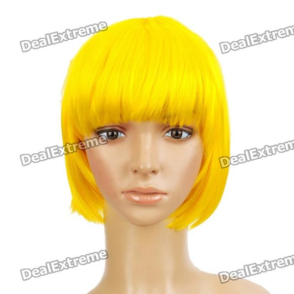 Buy Fashion Short Hair Wigs - Yellow with Litecoins with Free Shipping on Gipsybee.com