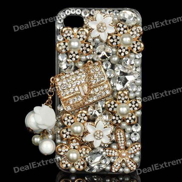 Flower & Mini Bag Protective Plastic Back Case for Iphone 4 / 4S ...