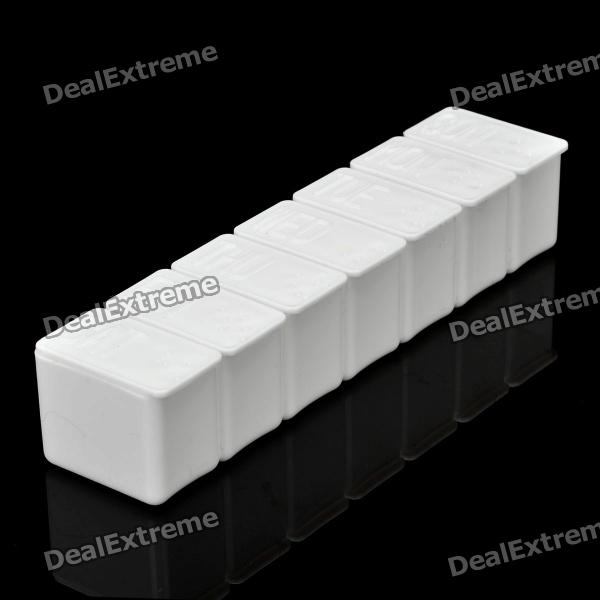 Buy 7-Day Plastic Pill Box Case Holder - White with Litecoins with Free Shipping on Gipsybee.com