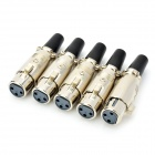 XLR Female + 3-Pin Male Jack Set Adapters Connectors - Black + Silver (5 Pair)