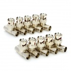 BNC Male to 2 BNC Female 3-Way Connector Sockets - Silver (10-Piece Pack)