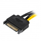 SATA de 15 pines macho a 6 pines PCI Express Card Cable de alimentación - Negro