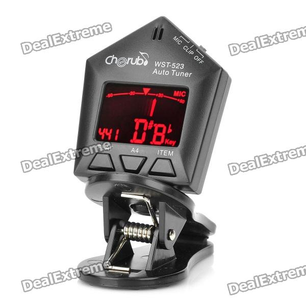 """1.3"""" LED Clip-on Style Auto Tuner for Guitar/Bass/Violin - Black"""