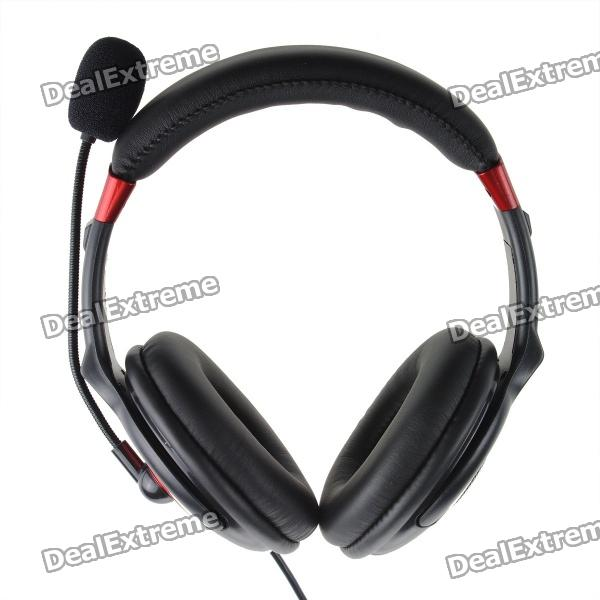 Stylish USB 2.0 Stereo Headset Headphone w/ Microphone / Speaker - Black + Red (2m-Cable)