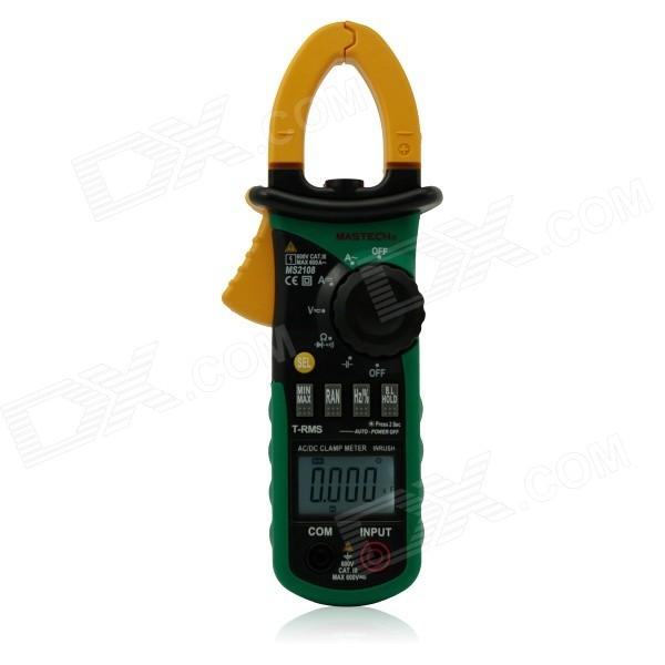 1.5 LCD Multi-Function Digital Clamp Multimeter - Green + YellowMultimeters<br>ModelMS2108Quantity1ColorGreenQuantity1ColorGreenForm  ColorYellowMaterialABSLCDMax. Display6600DCDC Voltage660mvAC Voltage660mvDC Current66AAC Current66AResistance660ohmPacking List<br>