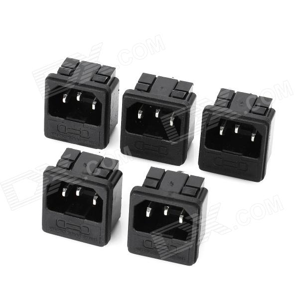 AC 250V 10A Power Socket Outlet with Fuse Base - Black (5-Piece Pack ...