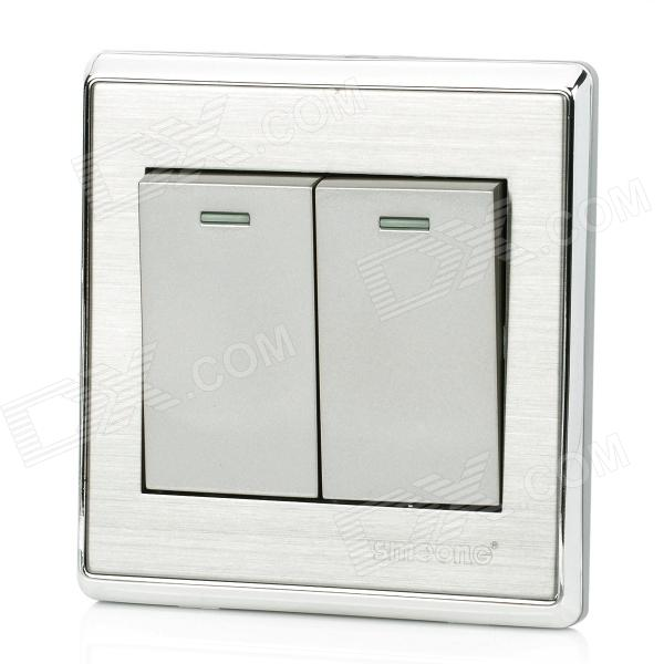 SMEONG Stainless Steel Wiredrawing Two Gang Power Control Wall Switch - Silver