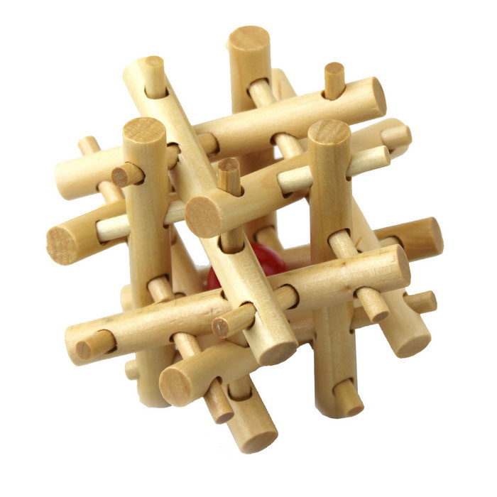 Wooden Brain Teaser 3D IQ Puzzle (Cage Lock)