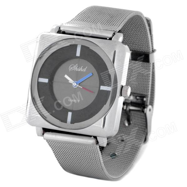 Buy Elegant Steel Band Quartz Analog Wrist Watch for Women - Black + Silver (1 x 377) with Litecoins with Free Shipping on Gipsybee.com