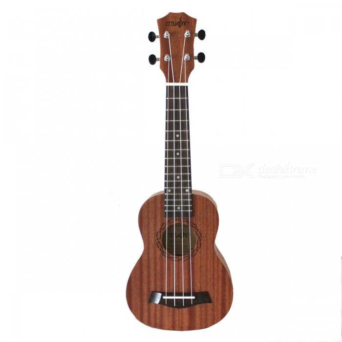 "Mini Handheld 21"" 4-String Ukulele - Wood Color"
