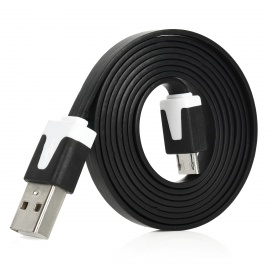 Micro USB Male to USB 2.0 Male Charging Data Flat Cable for Samsung i9220 / i9100 / HTC - Black