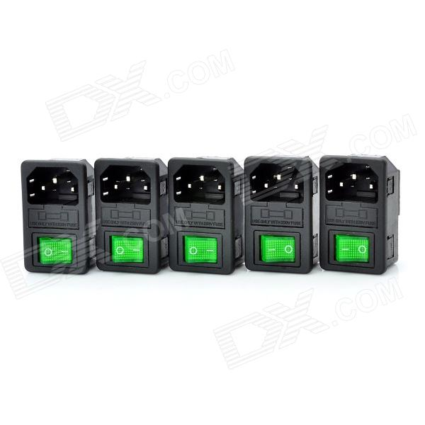 2-in1 AC 250V 10A Flat Plug Power Socket Inlet w/ 3-Pin On/Off Rocker Switch / Fuse (5-Piece Pack)