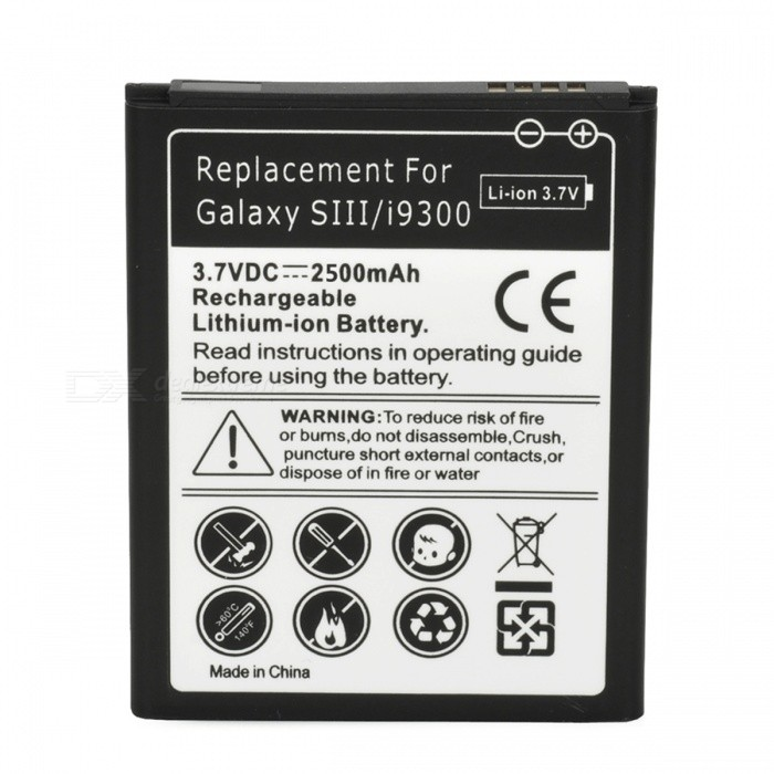 Buy Replacement 3.7V 2500mAh Lithium-ion Battery Pack for Samsung i9300 with Bitcoin with Free Shipping on Gipsybee.com