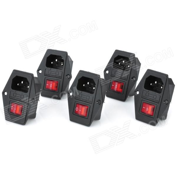 2-in1 AC 250V 10A Flat Plug Power Socket Outlet w/ 3-Pin On/Off Rocker Switch / Fuse (5-Piece Pack)