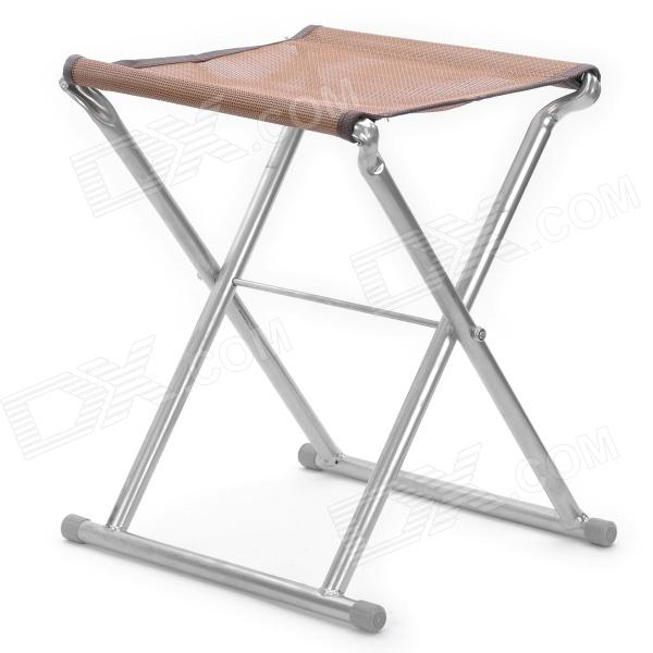 Outdoor Portable Folding Camping Fishing Chair Stool   Silver + Brown
