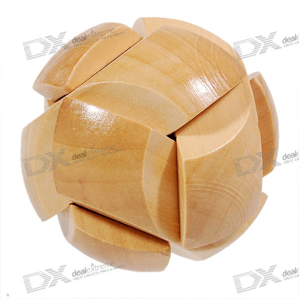 Wooden Ball Shaped Pull-Apart IQ Puzzle - Wood