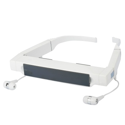 """088 Rechargeable 72"""" Virtual Screen Video Player Glasses w/ TF / 2.5mm Jacks - White"""