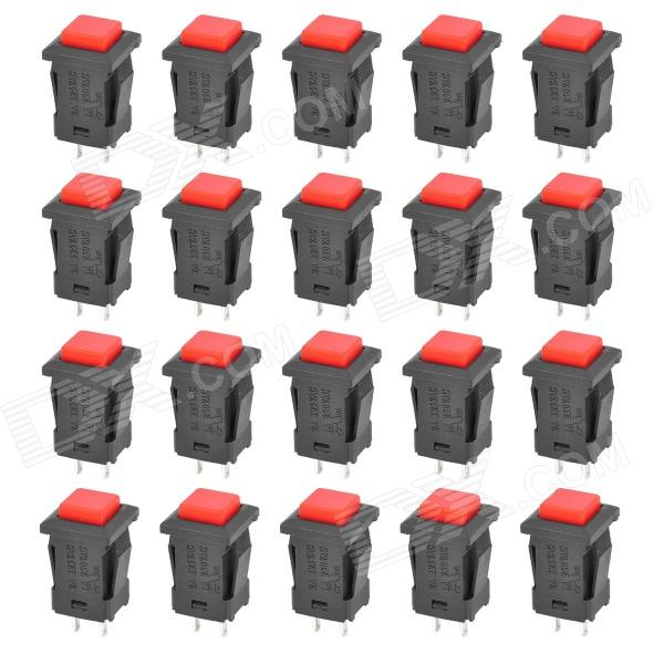 DS-429 Self-Locking Push Button Switch - Red + Black (20-Piece Pack)