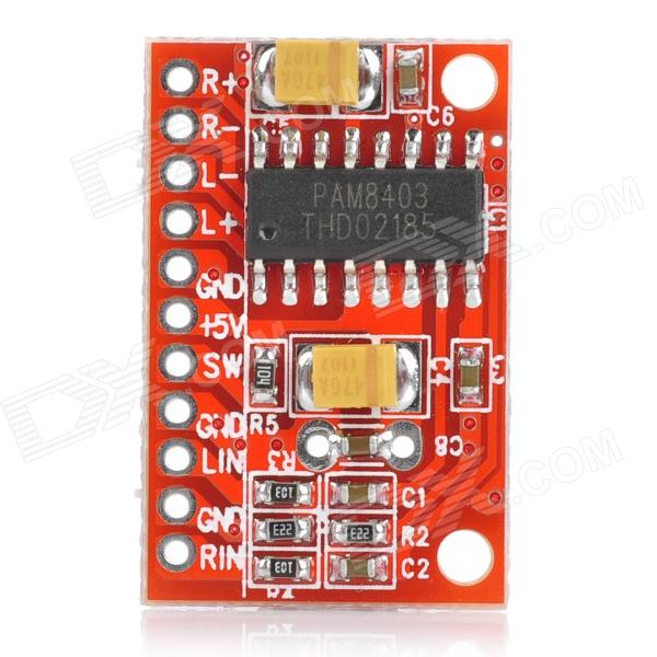 2-Channel 3W PAM8403 Audio Amplifier Board - RedBoards &amp; Shields<br>Quantity:Form  ColorRedMaterial:English Manual / SpecNoPacking List<br>