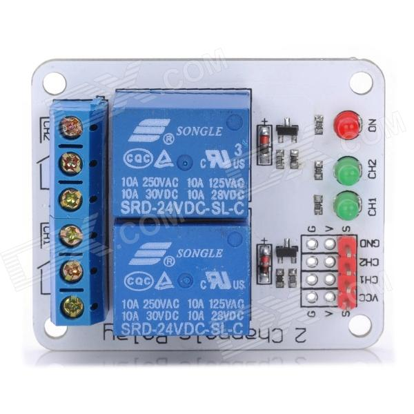 2-Channel 24V Relay Module for 51 / AVR / AVR / ARM for Arduino (Works with Official Arduino Boards)Relays <br>ModelNQuantity1ColorWhiteMaterialFR4Features2Form  ColorWhiteMaterialFR4Features2English Manual / SpecYesPacking List<br>