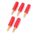 Loudspeaker Cable Banana Plugs Connectors - Red + Golden (5-Piece Pack)