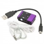 Rechargeable Screen Free MP3 Player w/ TF Slot / 3.5mm Jack - Purple + Black
