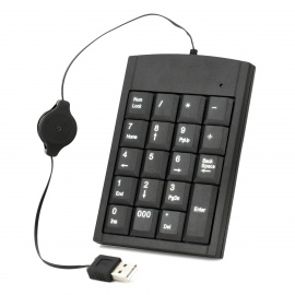 USB Numeric Keypad 19-Key Wired Mini Number Pad for Laptop Notebook Desktop Computer PC, Black