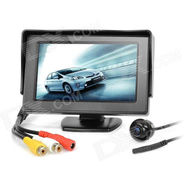 """4.3"""" TFT LCD Car Rear-View Stand Security Monitor and Camera Kit - Black"""
