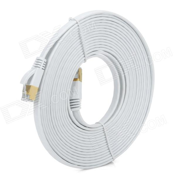 Gold-plated Cat.7 RJ45 10Gbps High Speed Ultra Flat LAN Network Cable - White (5m)