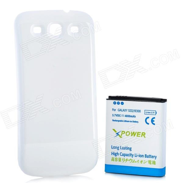 Replacement Extended 4800mAh Battery w/ Back Cover for Samsung Galaxy S3 i9300 - White