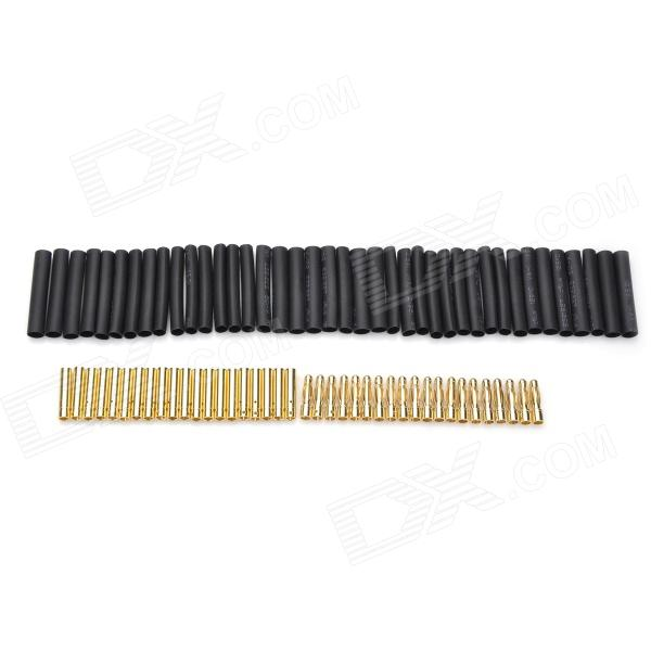 4.0mm Gold Plated Banana/Bullet Connectors with Heat Shrink Tubing (20-Pair)