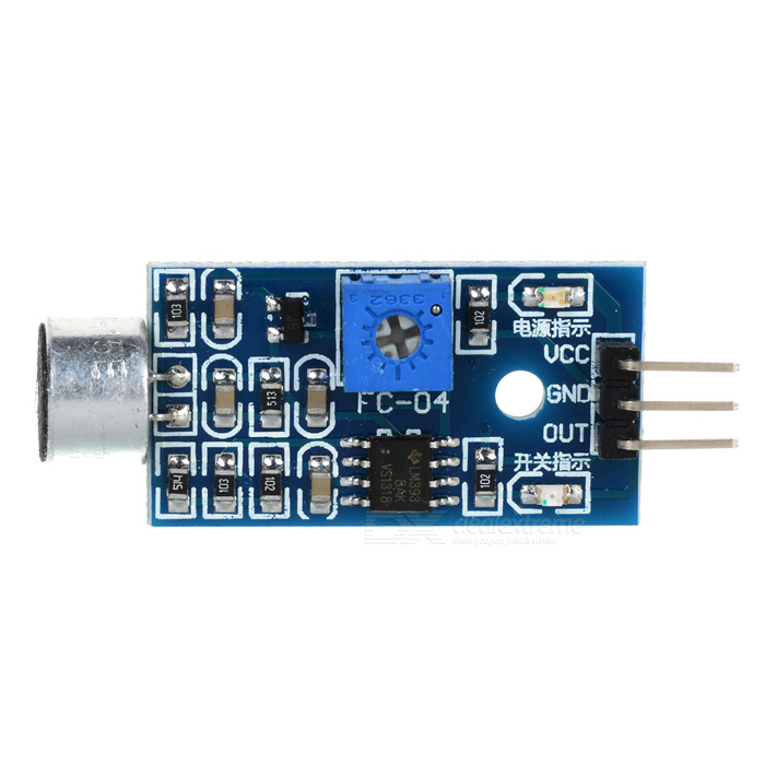 DIY 1-Way Sound Sensor Module for ArduinoSensors<br>ModelNQuantity1ColorBlueMaterialPCBFeaturesSensitivityForm  ColorBlueMaterialPCBFeaturesSensitivityApplicationDetectingPacking List<br>