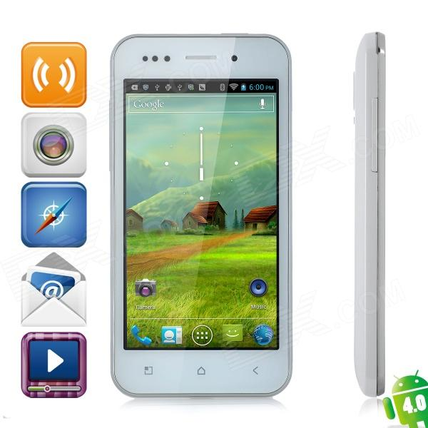 "ZOPO ZP500 Android 4.0 WCDMA Bar Phone w/ 4.0"" Capacitive Screen, GPS, Wi-Fi and Dual-SIM - White"
