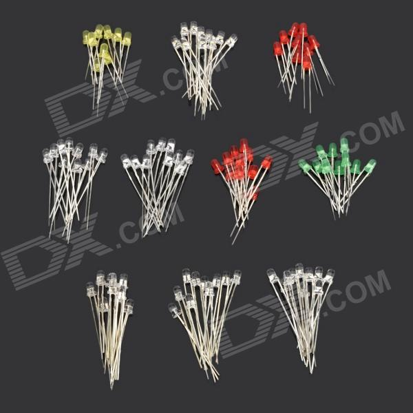 DIY 3mm 10-Color lysdioder LED-lampor - Silver (10 x 10 PCS)