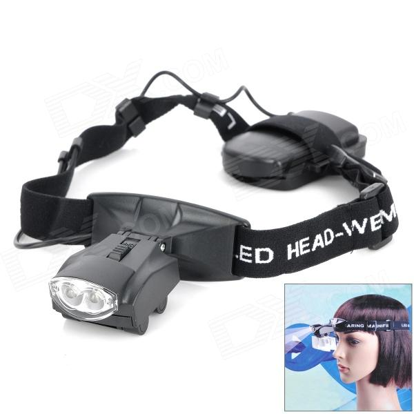 Buy Headband 2-LED White Light Illuminating Magnifier - Black (3 x AAA) with Litecoins with Free Shipping on Gipsybee.com